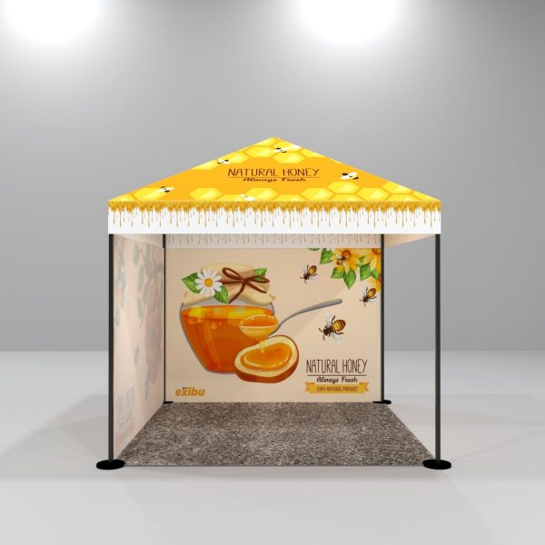 Kit 8 – 3X3 M Gazebo Tent With Full Top Printed And 1 Backdrop And 1 Full sidewall