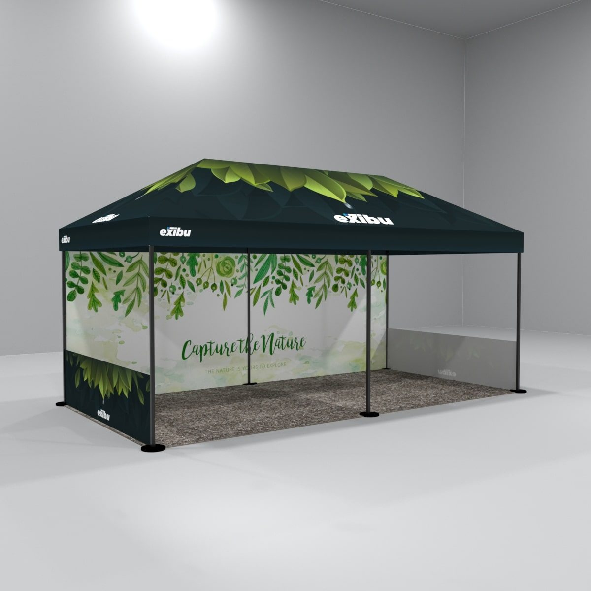 Kit 10 – 3X6 M Gazebo Tent With Full Top Printed And 1 Backdrop And 2 Side Halfwall