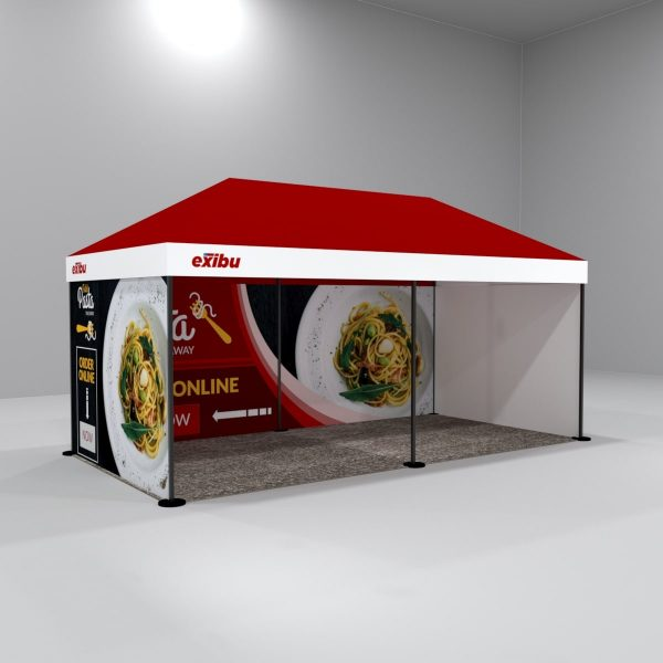 Kit 5 – 3X6 M 3 Side Covered Gazebo Tent With 1 Backdrop And 2 Full Sidewalls