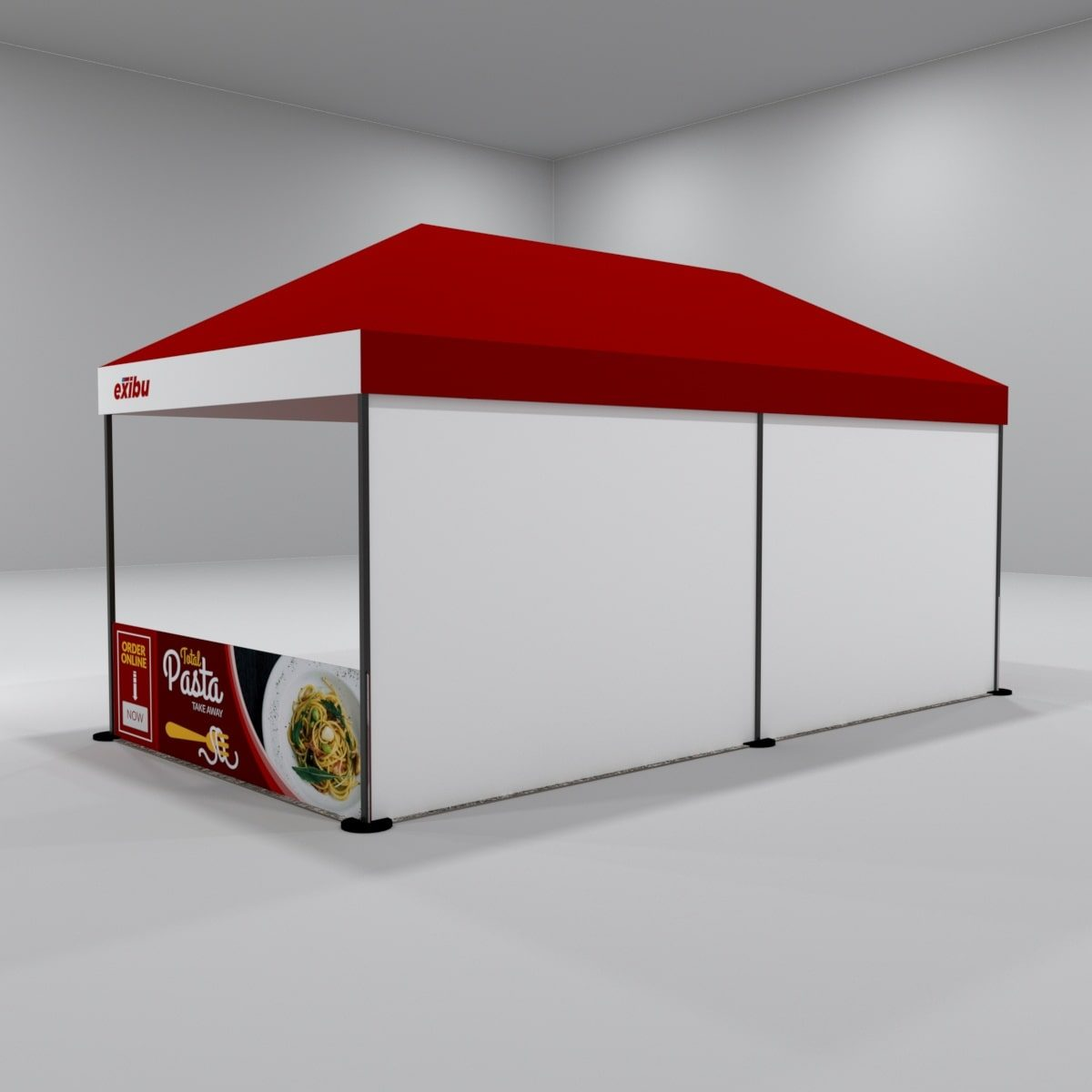 Kit 6 – 3X6 M Gazebo Tent With 1 Backdrop And 2 Side Halfwalls